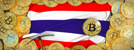 Bitcoins Gold around Thailand  flag and pickaxe on the left.3D Illustration.