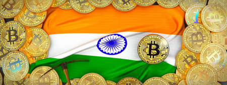 Bitcoins Gold around Indea  flag and pickaxe on the left.3D Illustration.
