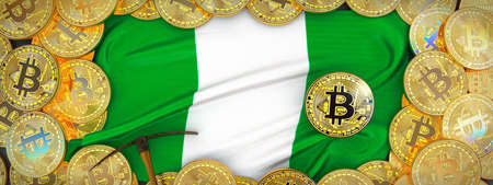 Bitcoins Gold around Nigeria  flag and pickaxe on the left.3D Illustration.