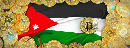 Bitcoins Gold around Jordan  flag and pickaxe on the left.3D Illustration.