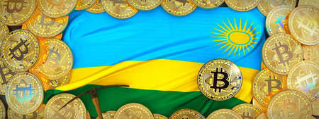 Bitcoins Gold around Rwanda  flag and pickaxe on the left.3D Illustration.
