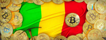Bitcoins Gold around Mali  flag and pickaxe on the left.3D Illustration. Stock Photo