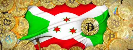 Bitcoins Gold around Burundi  flag and pickaxe on the left.3D Illustration. Stock Photo