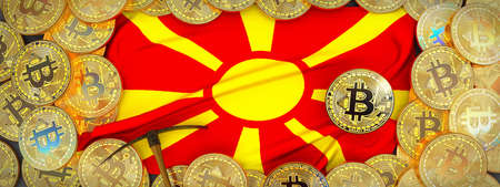 Bitcoins Gold around Macedonia  flag and pickaxe on the left.3D Illustration.