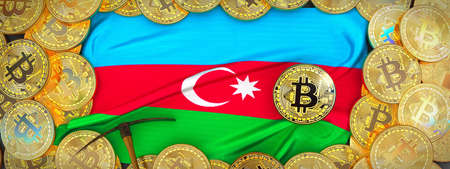 Bitcoins Gold around Azerbaijan  flag and pickaxe on the left.3D Illustration.