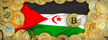 Bitcoins Gold around Sahrawi Arab DR  flag and pickaxe on the left.3D Illustration.