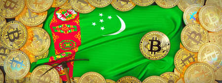 Bitcoins Gold around Turkmenistan  flag and pickaxe on the left.3D Illustration. Stock Photo