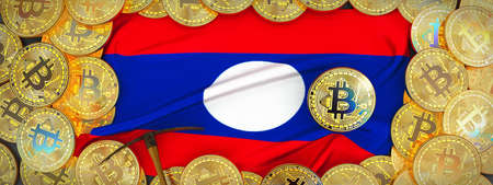Bitcoins Gold around Laos  flag and pickaxe on the left.3D Illustration. Stock Photo