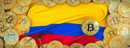 Bitcoins Gold around Colombia  flag and pickaxe on the left.3D Illustration. Stock Photo