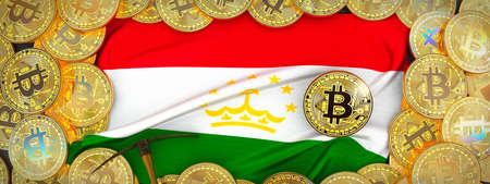 Bitcoins Gold around Tajikistan  flag and pickaxe on the left.3D Illustration.