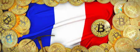 Bitcoins Gold around France  flag and pickaxe on the left.3D Illustration. Stock Photo