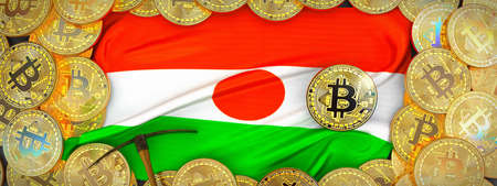 Bitcoins Gold around Niger  flag and pickaxe on the left.3D Illustration.