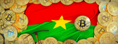Bitcoins Gold around Burkina Faso  flag and pickaxe on the left.3D Illustration. Stock Photo