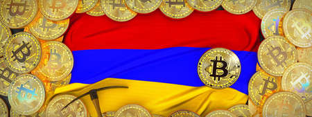 Bitcoins Gold around Armenia  flag and pickaxe on the left.3D Illustration.