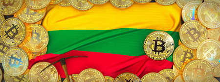 Bitcoins Gold around Lithuania  flag and pickaxe on the left.3D Illustration.