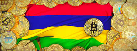 Bitcoins Gold around Mauritius  flag and pickaxe on the left.3D Illustration.