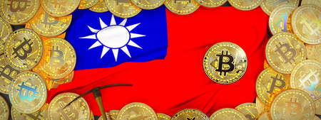 Bitcoins Gold around Taiwan  flag and pickaxe on the left.3D Illustration. Stock Photo