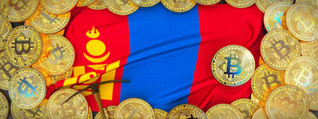 Bitcoins Gold around Mongolia  flag and pickaxe on the left.3D Illustration.