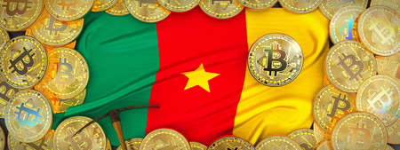 Bitcoins Gold around Cameroon  flag and pickaxe on the left.3D Illustration.