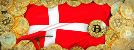 Bitcoins Gold around Denmark  flag and pickaxe on the left.3D Illustration. Stock Photo