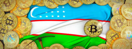 Bitcoins Gold around Uzbekistan  flag and pickaxe on the left.3D Illustration. Stock Photo
