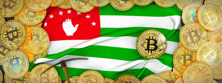 Bitcoins Gold around Abkhazia  flag and pickaxe on the left.3D Illustration.