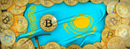 Bitcoins Gold around Kazakhstan  flag and pickaxe on the left.3D Illustration.