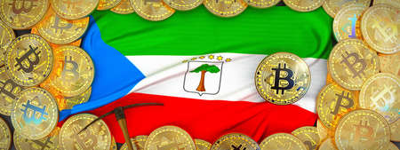 Bitcoins Gold around Equatorial Guinea  flag and pickaxe on the left.3D Illustration. Stock Photo