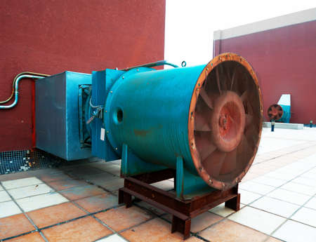 a large electric motor to drive the fan exhaust gases on the shadow stack   Stock Photo - 12450901