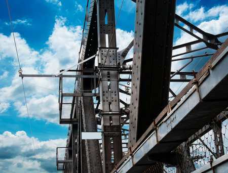 Support above the bridge, steel structure close-up. Stock Photo - 12927357