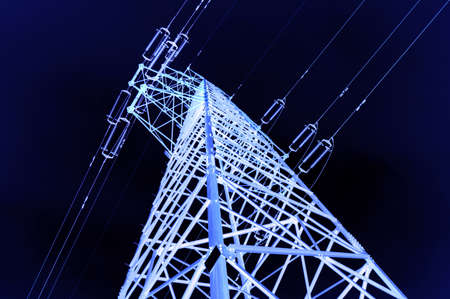 electric grid: high voltage post.High-voltage tower sky background.