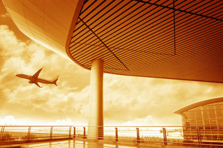 airplane take off: the scene of T3 airport building in beijing china interior of the airport  Stock Photo