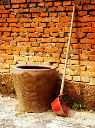 farm implements: Water tank and water spoon, Chinese traditional farm tools