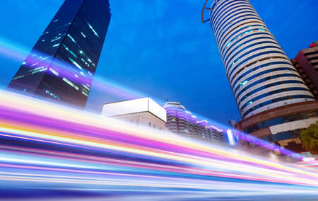 the light trails on the modern building background in wuhan china   photo