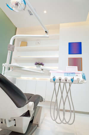 The white interior of a dentist office  Dentist office