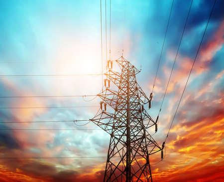 high voltage post at sunset Stock fotó