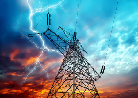 Dramatic Image of Power Distribution Station with Lightning Striking Electricity Towers Stock fotó - 19444923
