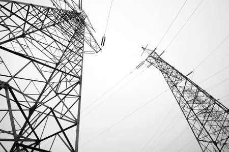 Electricity pylon isolated on white  photo