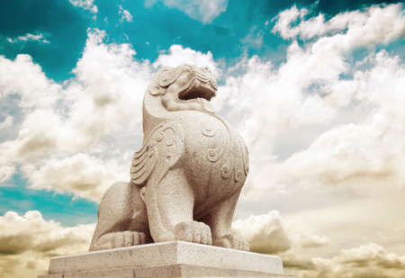 Stone Lion sculpture, symbol of protection & power in Oriental Asia especially China Stock Photo - 19447612