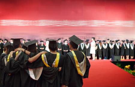 Shot of graduation caps during commencement photo