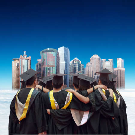 Group of graduates will face the modern city  photo