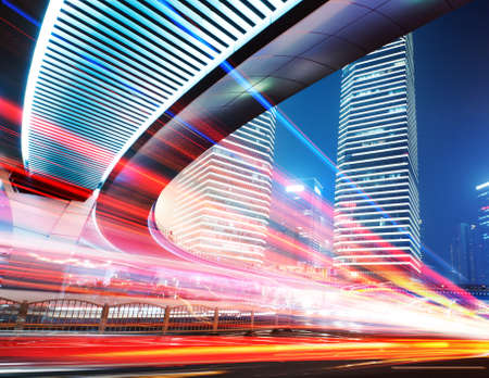 Shanghai Lujiazui Finance Trade Zone moderne ville de fond de nuit