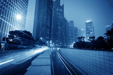 the light trails on the modern building background in shanghai china Stock fotó - 19450055