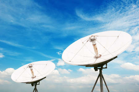 telecast: satellite dish antennas under sky Stock Photo