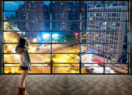 Paysage Wuhan regardant par la fen�tre