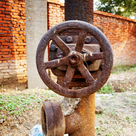 sewage treatment plant: Rusty sewer valve - underground old sewage treatment plant in Shanghai