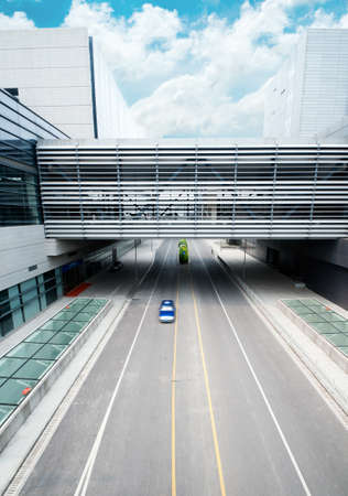road go through the modern office building at shanghai airport