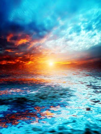 coucher de soleil sur le lac Banque d'images