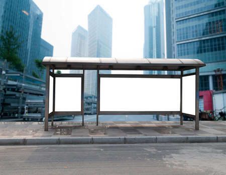 bus station: Bus stop billboard on stage