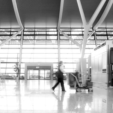 passenger in the shanghai pudong airport interior of the airport